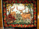Deer Bucks and Doe in the Forest cotton fabric quilt top or wall panel to Sew