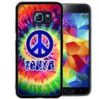 PERSONALIZED RUBBER CASE FOR SAMSUNG S9 S8 S7 S6 S5 PLUS TIE DYE HIPPIE PEACE