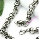 316L Stainless Steel Mens Cool 8mm Round Chain Silver Tone Link Necklace  22inch