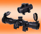 Combo 4x ZOOM RGB RIFLE SCOPE  CLASSIC RED DOT Picatinny Weaver RING MOUNTS