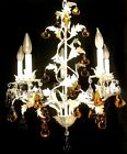 Antique Vintage White Tole Chandelier Ceiling Light Fixture  Fruit Ornaments D11