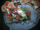 Home Beautiful Crystal Rose Pearl Platter Clear Frosted Round Large