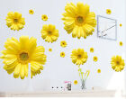 Yellow Flowers Wall Art Murals Stickers Removable Sunflower Home Decal Decor