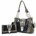 BLACK Western Rhinestone Buckle Patent Shiny Embossed Purse ONLY OR Wallet SET