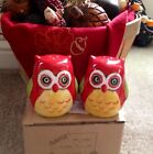 Very Cute Owl Salt Pepper Shakers Fall Autum Thanksgiving Hostess Gift New