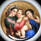 Old German Hand Painted Porcelain Plaque Of The Madonna & Child After Raphael PC