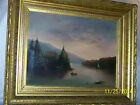 *A.Drienne Lallie*Listed Artist Antique c19thC Original Oil On Canvas Lake Side