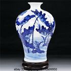 Chinese folk Home Feng Shui Blue and white Porcelain Lotus leaf Flower Fish Vase