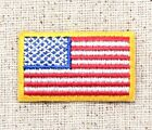 Small 15 American Flag Yellow Border USA Iron on Applique Embroidered Patch