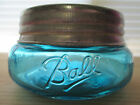 LIGHT TURQUOISE BALL MASON WIDEMOUTH SQUATTY HALF PINT JAR & GALVANIZED  LID