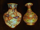 TWO Vintage Chinese Champleve Enamel Gilded Cloisonné Miniature BUD VASES