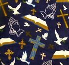 Religious Bibles Crosses Doves Praying Hands on navy Fleece Fabric