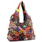 NEW Genuine LEATHER Brown Patchwork Flower HOBO Shoulder Bag PURSE Handbag Large
