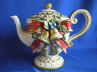 Fitz & Floyd Retired Christmas Deer Teapot Collectable Holidays Bells Holly