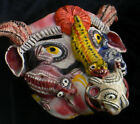 Fantastic Large Hand Made & Painted Mexican Devil Mask Clay Folk Art