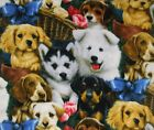 Cute Pups Puppies in Baskets with flowers Fleece Fabric