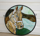20Dia Round Horse Head Tiffany Style Stained Glass Suncatcher Panel
