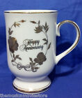 Norcrest China Happy Anniversary Cup  White Gold Trim and Flowers New