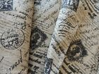 Lovely FRENCH POSTAGE STAMP PRINTED BURLAP Fabric - By the Yard - French Country