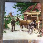VINTAGE ROYAL SCHWABAP MOSA HOLLAND HANDDECORATED ART TILE WINDMILL BLACKSMITH