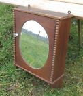 Vintage French Wall Medicine Cabinet Apothecary Glass Oval mirror carved Wood