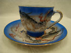 218 Blue dragonware porcelain demitasse cup and saucer made in japan.