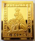 Italy Tuscany 1 Soldo Stamp 1851 Lion Proof 24 K Gold Plated on Silver Rare !
