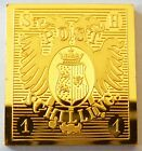 Schleswig Holstein 1 Schilling Stamp 1850 24 K Gold Plated on Sterling Silver !