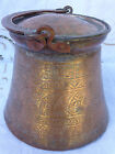 VINTAGE MIDDLE EASTERN SOLID BRASS HAND HAMMERED / CRAVED CHRISTIAN PAIL /BUCKET