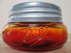 ORANGE AMBER RED  BALL MASON WIDEMOUTH SQUATTY HALF PINT JAR & GALVANIZED LID