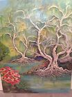 UNUSUAL VINTAGE EXTRA LARGE ORIGINAL OIL PAINTING SIGNED FROM ESTATE
