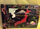 Vintage Black Japanese Lacquer Scrapbook Album  Japan Map Landscape Mount Fuji