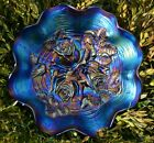 NORTHWOOD AMETHYST ROSE SHOW ANTIQUE CARNIVAL GLASS BOWL