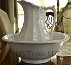 Ironstone Bowl & Pitcher Wash Basin Set Ceramic Panel Wheat Ceres Clover Ribbon