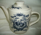 Tea Pot & Lid Country Rooster Blue White California Pottery 2002  Stone ware