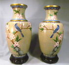 PAIR OF CHINESE CLOISONNÉ VASES WITH BLUE BIRD AND FLORAL DESIGN W/STA