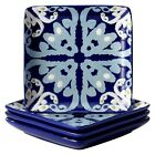 Rachael Ray Ikat Square Appetizer Plate Set of 4 - Blue (6