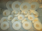 26 Golden Wheat  Plates, Bowls, Cups, Saucers 22kt Gold Trim Oven Proof USA,