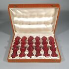 """Twelve Vintage French """"French Poodle"""" Majolica Knife Rests, with Case"""