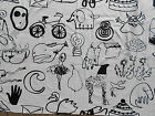 Ikea Fabric BECKMANS College of Design Black White Sketches Large Print Cotton