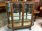 Very Unique Quarter Sawn Oak Bow Glass China Vitrine Display Cabinet Claw Feet