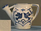 CERAMICWHITE WITH BLUE TRIM WATERING PITCHER/ CAN WITH BLUE KISSING BIRDS JAPAN