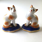 Pair: Antique/Vintage Staffordshire Porcelain Miniature Cat Garniture Figurines