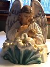 Large VTG 1950s LIGHT Pacini Chalkware Angel With Baby Baptism Religious