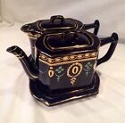 England Wade Teapot Hot Water Pot Display Plate Blue Gold 5 Piece's English VTG