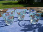 Vintage Set of 3 Juice Glasses with Beautiful Pine Branch Design