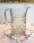 Early 1900s vintage glass Pitcher with Daffodil or Jonquil floral pattern 8.5