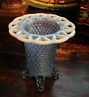 1930's Imperial Lace Edge Katy Blue Diamond Point Four Footed Opalescent Vase