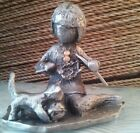 Walli Ortman Hudson Pewter Girl Knitting w/ Cat and Ball of Yarn #034 c.1970's