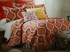 NIP Acadia Ikat Orange/Fushia/Green/Yellow Cotton King Quilt Set 4pc